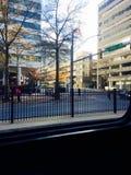 People walking through gate Royalty Free Stock Photos