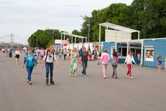 People walking in Gorky Park Royalty Free Stock Photography