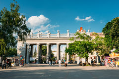 People walking in Gorky park at summer evening in Stock Photo