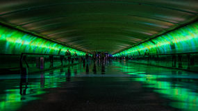 People Walking Between the Green Lights in Dome Area Royalty Free Stock Photos