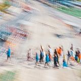 People walking in group -Abstract Expressionism Impressionism. People walking in group - Abstract Expressionism Impressionism Photography Dreamy In motion royalty free stock photography