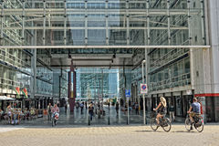 People walking through The Hague Central railway station Stock Photo