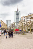People walking in the Hauptwache plaza in Frankfurt Stock Photo