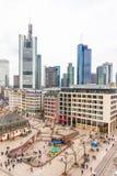 People walking in the Hauptwache plaza in Frankfurt Royalty Free Stock Image