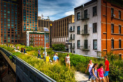 People walking on The High Line, in Manhattan, New York. Royalty Free Stock Image