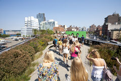 People walking at the High Line Park Royalty Free Stock Photography