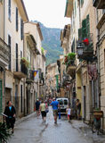 People walking through the historical town part of Soller (Mallo Royalty Free Stock Photos