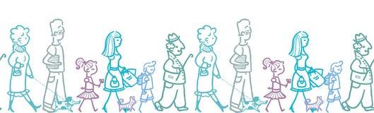 People walking horizontal seamless pattern stock illustration