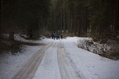 People Walking on Icy Road Stock Image