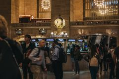 People walking inside Grand Central Terminal, New York, USA. stock images