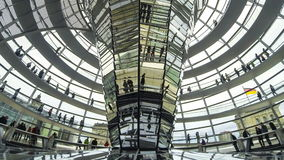 People walking inside the Reichstag Dome in Berlin, Germany stock video