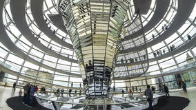 People walking inside the Reichstag Dome in Berlin, Germany stock video footage