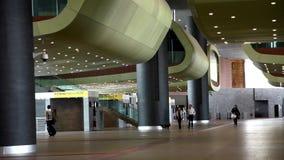 People walking inside terminal. Hall stock video