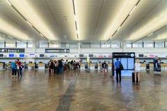 People Walking Inside The Terminal Of Vienna International Airport Stock Image