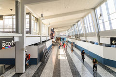 People Walking Inside The Terminal Of Vienna International Airport Stock Images
