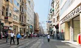 People walking on Istiklal Street in Istanbul, Turkey. Royalty Free Stock Photo