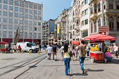 People walking on Istiklal Street in Istanbul, Turkey. Stock Photos