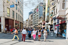 People walking on Istiklal Street in Istanbul, Turkey. Stock Image