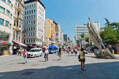 People walking on Istiklal Street in Istanbul, Turkey. Royalty Free Stock Image