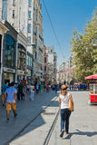 People walking on Istiklal Street in Istanbul, Turkey. Stock Photography