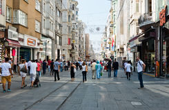People walking on Istiklal Street in Istanbul, Turkey. Stock Photo