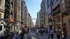 People walking on Istiklal Street. It is the most famous street in Istanbul stock photos