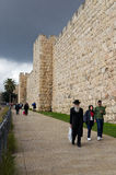 People walking in Jerusalem Old city. People walking outside Jaffa gate in Jerusalem Old city stock images