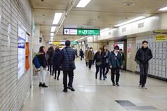 People walking at the JR station in Kyoto, Japan Royalty Free Stock Images