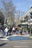 People walking in La Rambla, in Barcelona, Spain Stock Image
