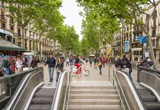 People walking in La Rambla street of Barcelona Stock Photo