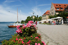 People walking by the lake of Constance at Ueberlingen Royalty Free Stock Photography