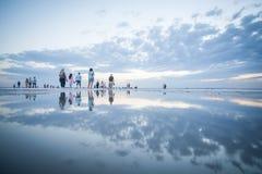 People walking on lake Tuz, Turkey. Stock Photos