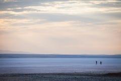 People walking on lake Tuz, Turkey. Stock Photo
