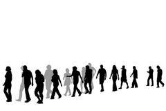 People walking in line Stock Photos