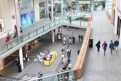 People walking in the Liverpool One shopping centre Royalty Free Stock Images