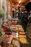 People outside bookshop in winter Stock Image