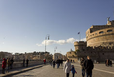 People walking on Lungotevere Castello in Rome Stock Photography