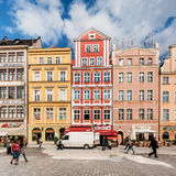 People walking on Main Market Square in Wroclaw. Royalty Free Stock Photos