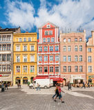 People walking on Main Market Square in Wroclaw. Stock Photos