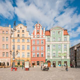 People walking on Main Market Square in Wroclaw. Royalty Free Stock Images