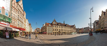 People walking on Main Market Square in Wroclaw. Royalty Free Stock Photo