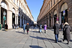 People walking on the main street in Turin Stock Photography