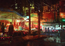 People walking in the market at night. Digital painting of people walking in the market at night Stock Photo