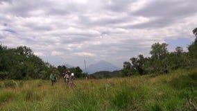 People walking on the meadow stock video footage