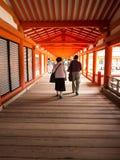People walking at Miyajima Shrine stock photography