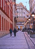 People walking in most famous shopping street and one of the favorite destinations of tourists Knez Mihajlova with old stock image