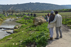 People walking in nature path. Back view of people walking in nature path in Tzippori river,israel Stock Photography