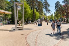 People walking near Dzintari Concert Hall complex located on the shores of the Baltic Sea, in the center of Maiori, in Jurmala. Royalty Free Stock Image