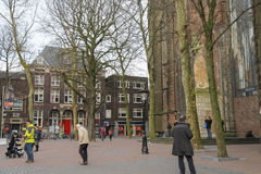 People walking near famous St. Martins Cathedral in Utrecht, the Stock Photography