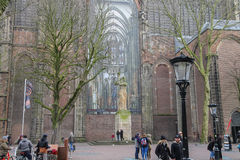 People walking near famous St. Martins Cathedral in Utrecht, the Stock Photos